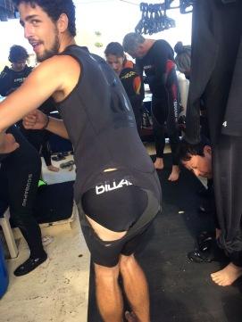 Felix's wet suit is now a shirt!